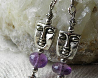 Earrings in 925 sterling silver and semi-precious stones