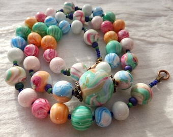 """1U beaded necklace handcrafted in shades of soft """"Pastel"""", tenderness and friendship gift."""