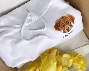 Custom Pet Hoodie, Embroidered or printed pet face hoodie, dog memorial, Personalized dog hooded sweatshirt, pet gifts, dog mom hoodies
