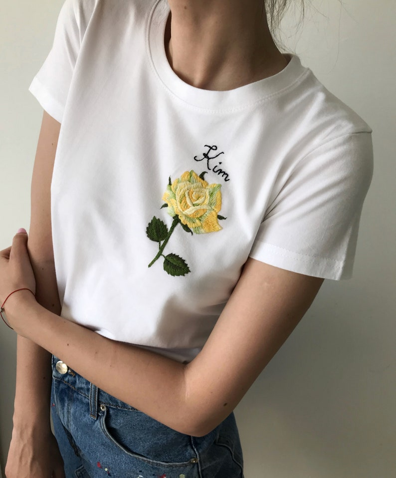 Rose hand embroidered t-shirt, Unusual Floral embroidery shirt, Custom  embroidery tee, Personalized Gift, Christmas gifts, gifts under 50