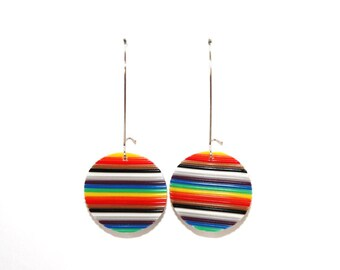Earrings round multicolored recycled electronic wires