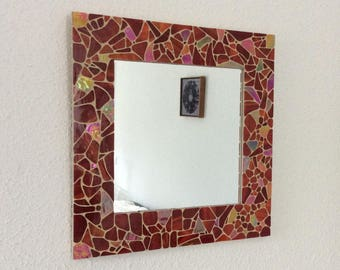 Mirror square red and red glass mosaic iridescent.