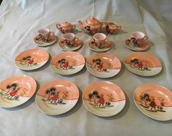 Vintage 21 piece Japanese Porcelain Lusterware Child's Tea Set