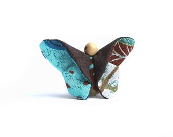Eco-designed fabric Brown/blue butterfly brooch