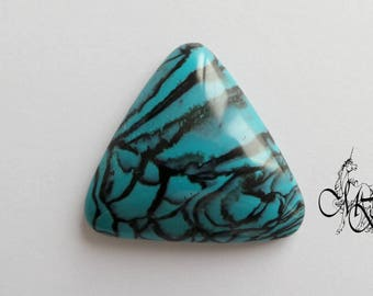 Cabochon 30 mm Turquoise polymer clay and black triangle #9