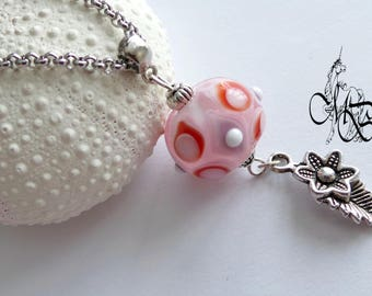 Long necklace - pink Lampwork pendant bead