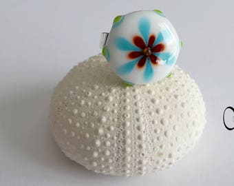 White and blue Lampwork bead ring