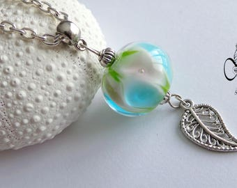 Long necklace - green and blue Lampwork bead pendant
