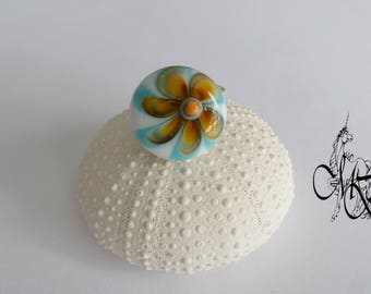 White, yellow and blue Lampwork bead ring