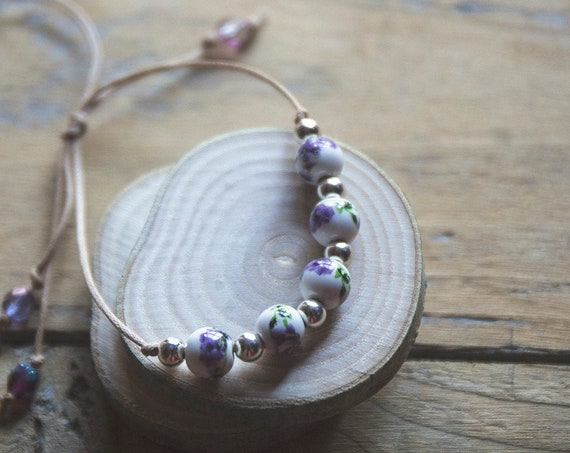 Ceramic and Sterling Silver Adjustable Bracelet  - on suede cord.