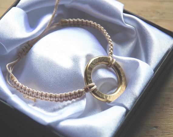 The quintessential summer boho bracelet. Textured brass. Adjustable.