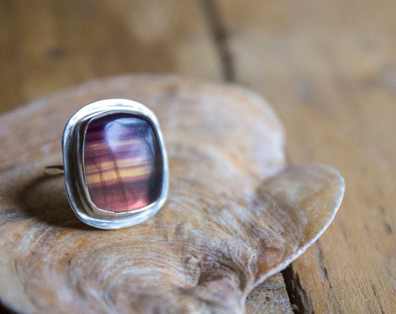 Sterling silver striped fluorite ring, size P (UK) 7 3/4 (US)