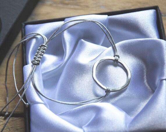 The quintessential summer boho bracelet. Textured sterling silver. Adjustable.