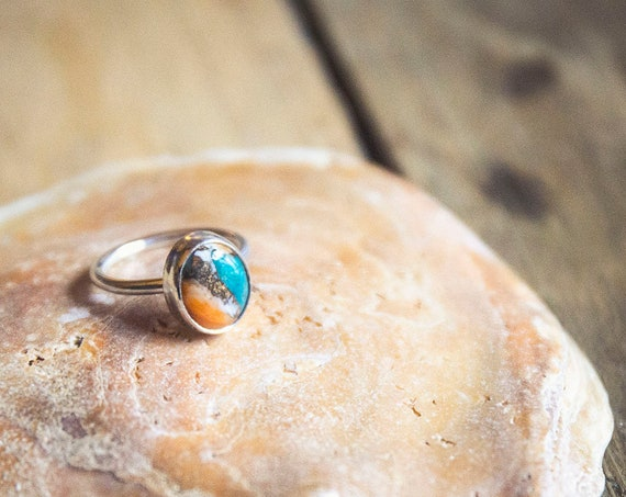 Sterling silver mojave turquoise ring, size M  (UK) 6.25 (US)