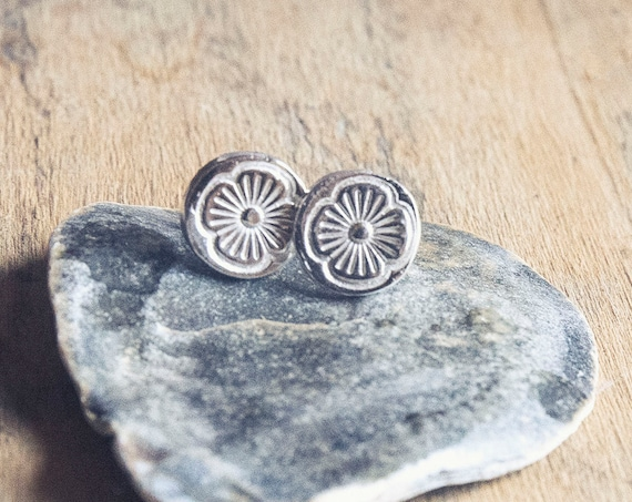 Little Flowers. Hand-crafted Pure Silver Stud Earrings. One of a kind.