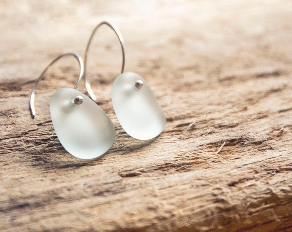 The simplest, most elegant Seaham seaglass earrings. Sterling silver. One of a kind.