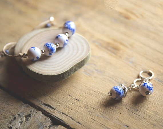 Ceramic and Sterling Silver Adjustable Bracelet  - on suede cord - and matching pierced earrings.