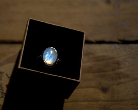 Rainbow moonstone ring, sterling silver, size N (UK)