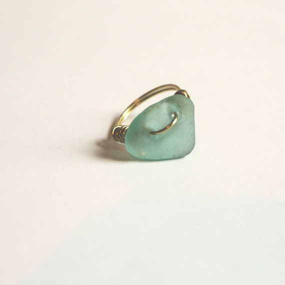 Brass and Seaglass Ring, wire wrap, handmade, beach treasures, mermaid jewels