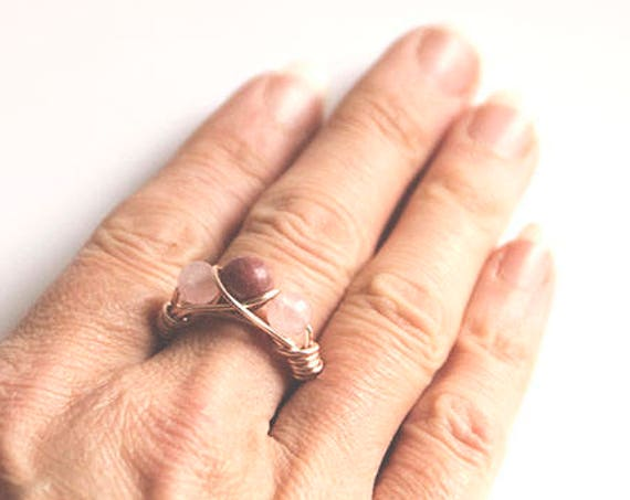 Rose Quartz, Rhodonite and Rose-coloured Copper Wire Ring, wire wrap, handmade, hippie, boho, gypsy