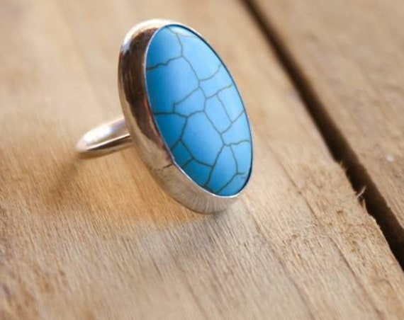 Sterling silver big turquoise  ring, size P 1/2 UK