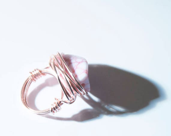 """Pink Statement Ring, """"Messy-Wrapped"""" in rose-gold coloured copper wire, handmade, boho, hippie, gypsy"""