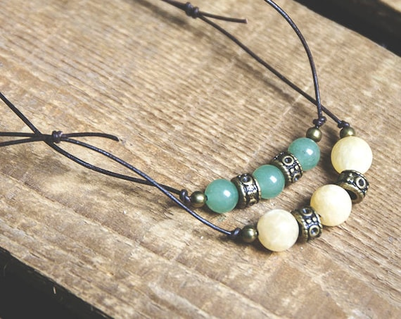 Skinny Leather Hippie Necklace, with gemstones, adjustable.  boho, natural, hippie, gypsy. Aventurine or Honey Jade