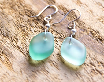 Soft, perfectly smooth diamond-shaped Seaham seaglass earrings. Sterling silver. One of a kind.