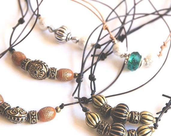 Skinny Leather Hippie Necklace, adjustable.  boho, natural, hippie, gypsy