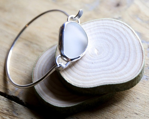 Smooth white Seaham seaglass in sterling silver, on solid silver bangle