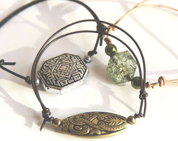 Skinny Leather Hippie Bracelet, adjustable.  boho, natural, hippie, gypsy
