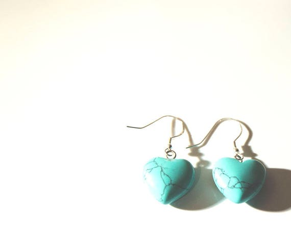 Turquoise heart earrings on sterling silver hooks. Hippie, Boho, Pretty, Gypsy, Love