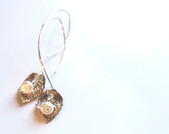 Pure Fine Silver Handmade Leaves, with freshwater pearls on dramatic sterling silver earwires