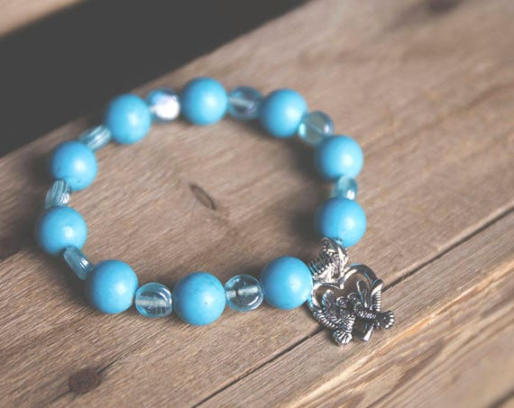 Turquoise Gemstone Bead and Turquoise Coloured Glass Bead Bracelet with Tibetan Silver Peace Doves Charm, peace, boho, gypsy, hippie, love