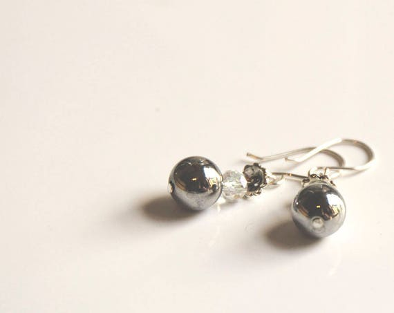 Sterling silver hematite and Swarovski crystal drop earrings, boho, gypsy, hippie, surfer style.