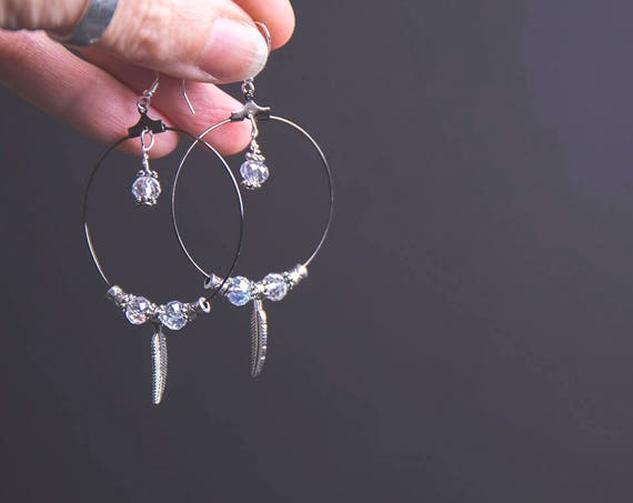 Delicate Sparkly Gypsy Hoops, sterling silver wires, crystals and silver-plated disco balls.