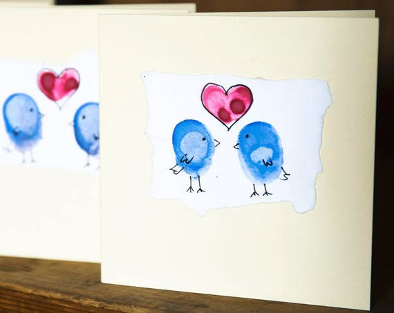 Handpainted Greetings Card, Blank for your message, lovebirds or cats.