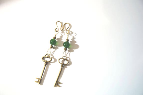 Green jade and brass handmade earrings, wire-wrapped, boho, gypsy, hippie, surfer style, steampunk