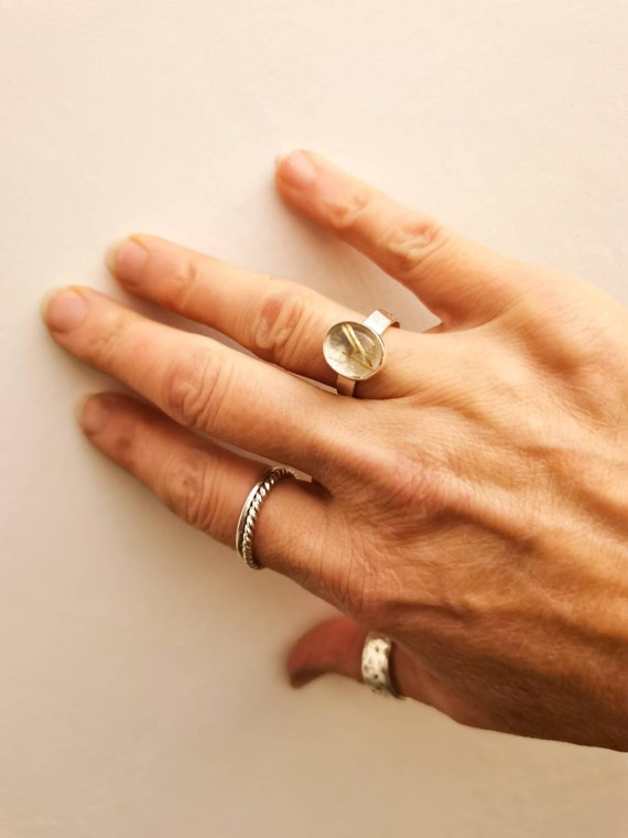 Sterling silver Golden Rutile ring, size P (UK) 7 1/2 (US)