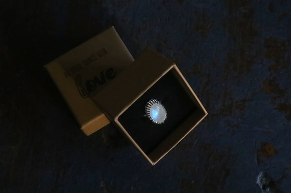 Sterling silver Rainbow Moonstone ring, size M1/2 (UK) 6 1/2 (US)