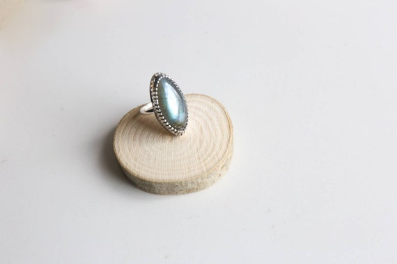 Sterling silver labradorite ring, size O (UK) 7 1/4 (US)