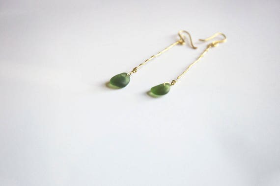 Long brass-wired deep green Seaham seaglass earrings, handmade from top to bottom, boho, gypsy, hippie, surfer style