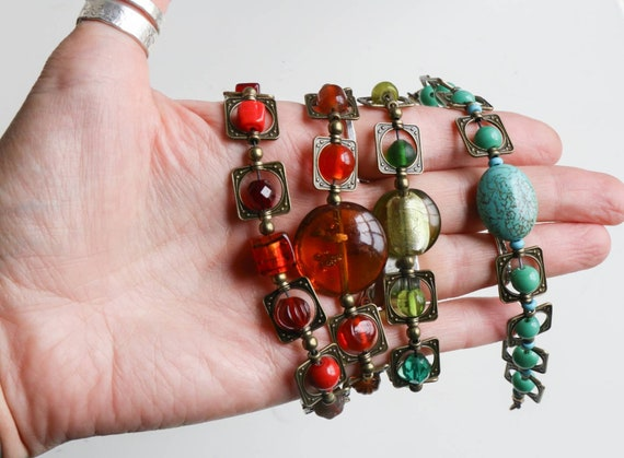 Beautiful handmade boho summer bracelets, gemstones, lampwork glass, adjustable.