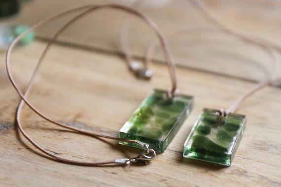 Seaham seaglass in resin. Necklaces n thin suede or silver. Hippie summer.