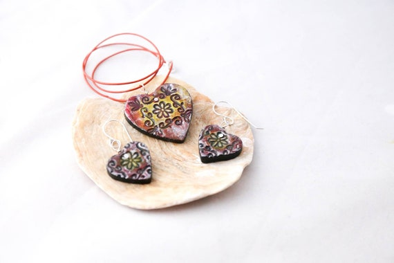 Hand modelled heart shaped earrings and pendant set, embossed, hand painted , sterling earwires