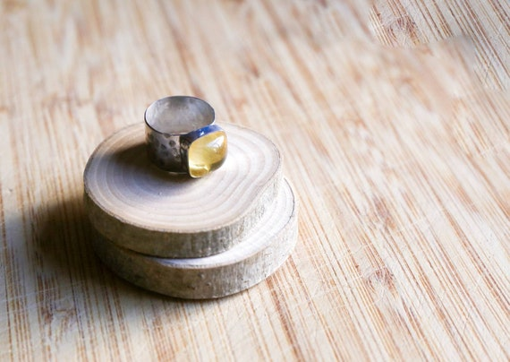 Sterling Citrine ring, size O 1/2 (UK) 7 3/4 (US)