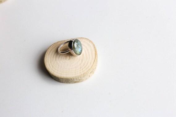 Sterling silver labradorite ring, size O (UK) 7 1/4 (US)