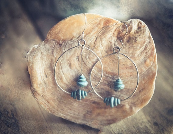 Natural turquoise and sterling silver earrings. Handcrafted. One of a kind.