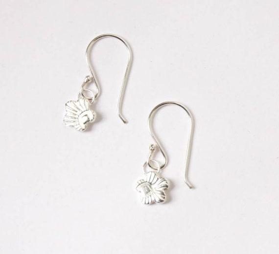 Pure Fine Silver Handmade Embossed Flower Earrings, on sterling silver earwires.