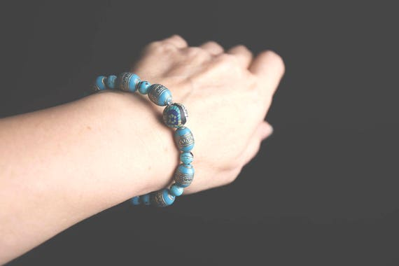 Turquoise Acrylic and Marbled Glass Bead Bracelet, boho, natural, hippie, gypsy